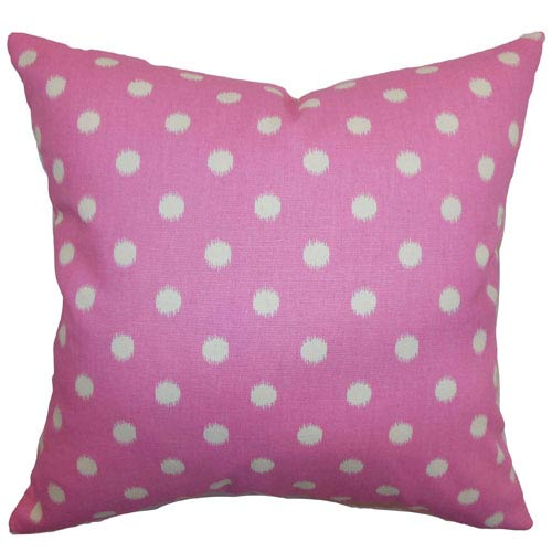 The Pillow Collection Rennice Ikat Dots Pillow Gum Drop Pink Natural