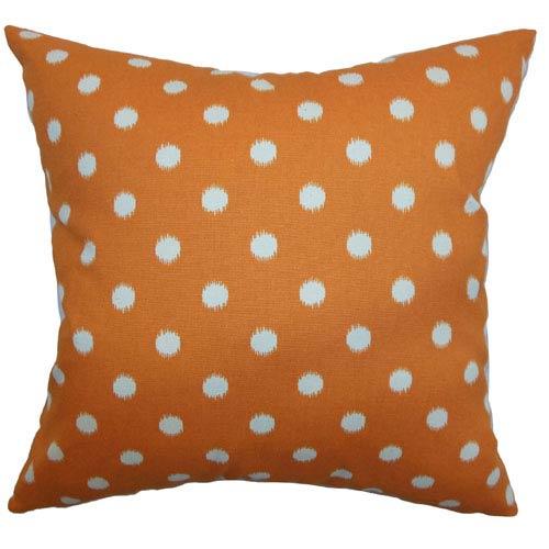 The Pillow Collection Rennice Ikat Dots Pillow Gum Drop Orange Natural