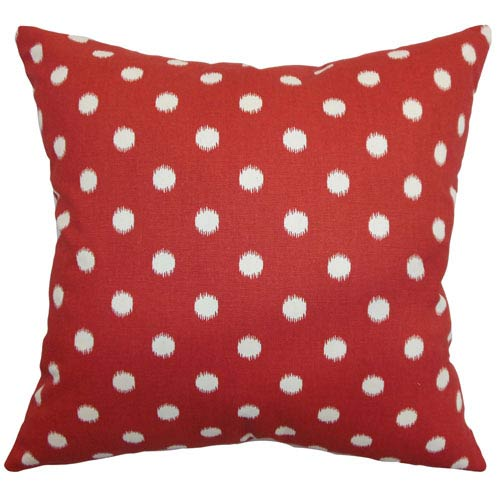 The Pillow Collection Rennice Ikat Dots Pillow Primary Red Natural