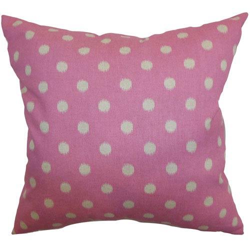 The Pillow Collection Rennice Ikat Dots Pillow Pink