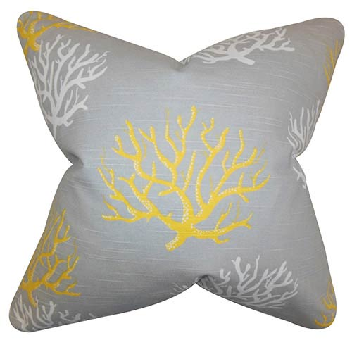 The Pillow Collection Hafwen Yellow 18 x 18 Coastal Throw Pillow