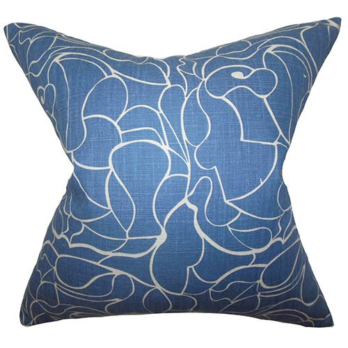 The Pillow Collection Eames Blue 18 x 18 Floral Throw Pillow