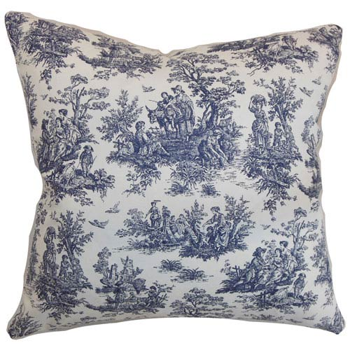 The Pillow Collection Lalibela Toile Pillow Blue