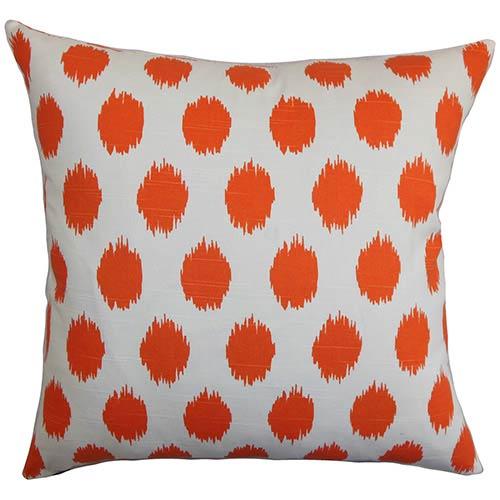 The Pillow Collection Kaintiba Orange 18 x 18 Patterned Throw Pillow