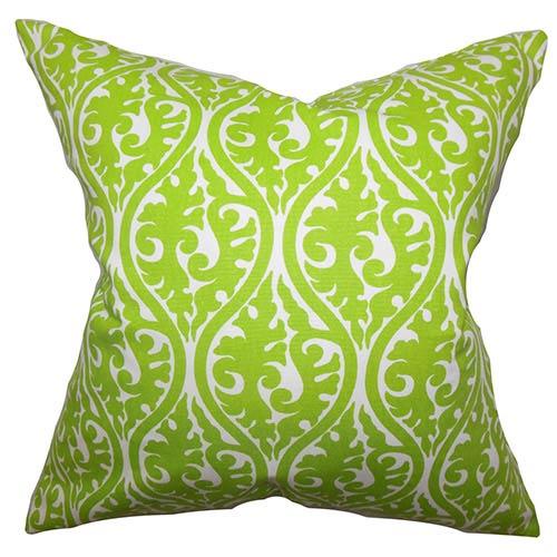 The Pillow Collection Mechria Green 18 x 18 Geometric Throw Pillow