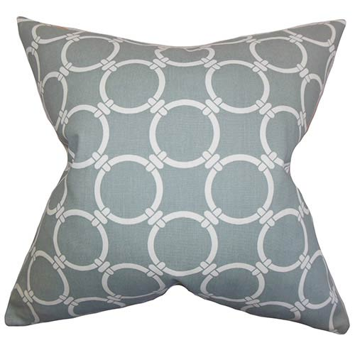 The Pillow Collection Betchet Gray 18 x 18 Geometric Throw Pillow