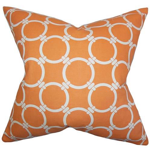 The Pillow Collection Bechet Orange 18 x 18 Geometric Throw Pillow