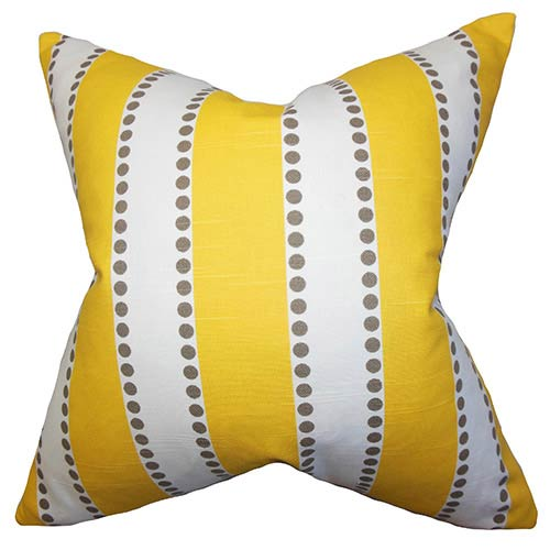 Odienne Yellow 18 x 18 Stripes Throw Pillow