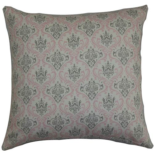 The Pillow Collection Paulomi Pink and Grey 18 x 18 Patterned Throw Pillow