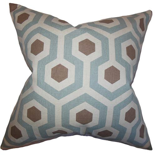 The Pillow Collection Maliah Blue 18 x 18 Geometric Throw Pillow