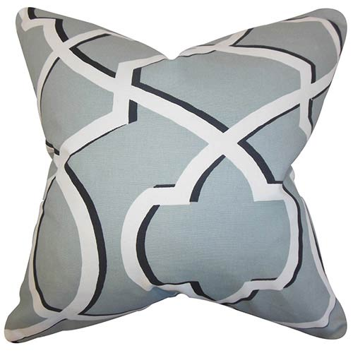 The Pillow Collection Curan Gray 18 x 18 Geometric Throw Pillow