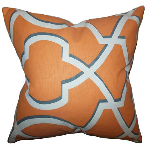 Curan Orange 18 x 18 Geometric Throw Pillow