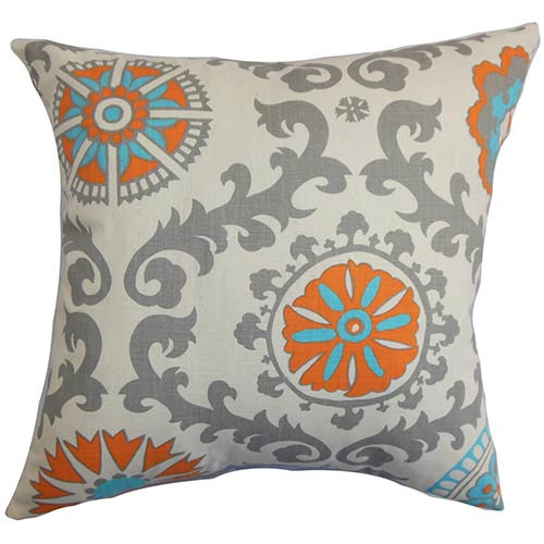 Kaula Grey and Orange 18 x 18 Geometric Throw Pillow