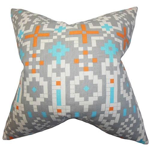 The Pillow Collection Eleni Orange 18 x 18 Geometric Throw Pillow