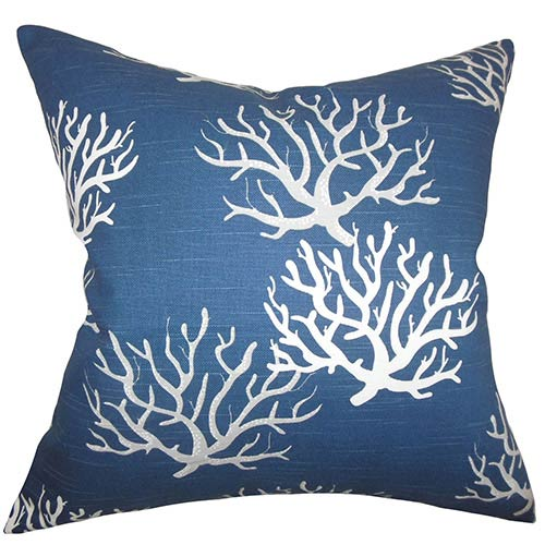 The Pillow Collection Hafwen Navy Blue 18 x 18 Coastal Throw Pillow