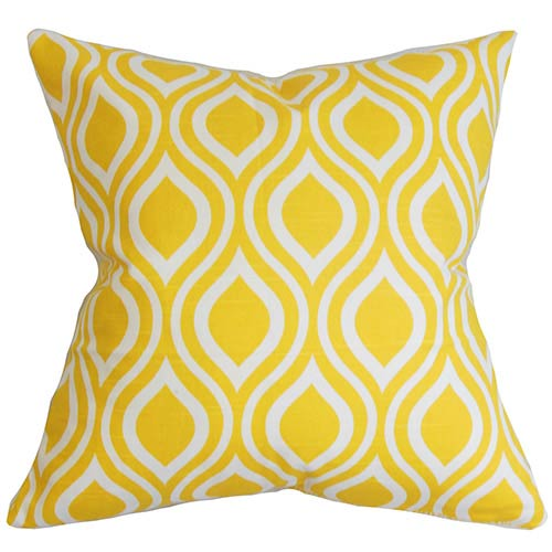 The Pillow Collection Poplar Yellow 18 x 18 Geometric Throw Pillow