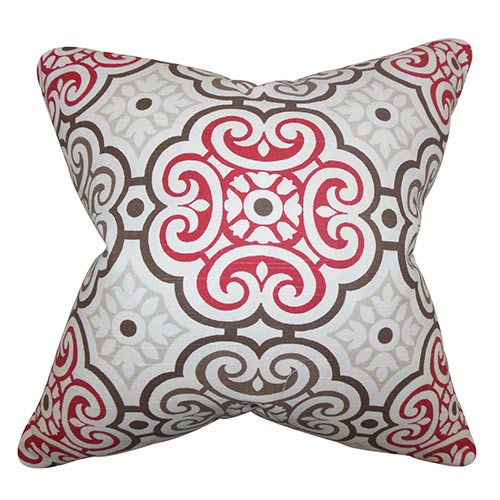 The Pillow Collection Nascha Red 18 x 18 Geometric Throw Pillow