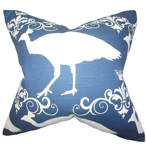 The Pillow Collection Flannery Blue 18 x 18 Animal Print Throw Pillow