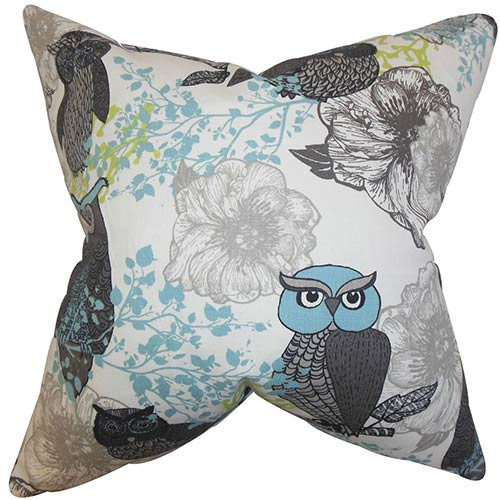 The Pillow Collection Bahaar Gray 18 x 18 Floral Throw Pillow