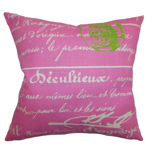 The Pillow Collection Saloua Typography Pillow Gum Drop Pink Natural