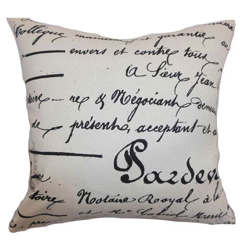 The Pillow Collection Saloua Typography Pillow Onyx Natural