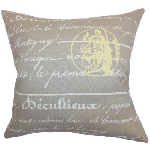 The Pillow Collection Saloua Typography Pillow Sunny Natural