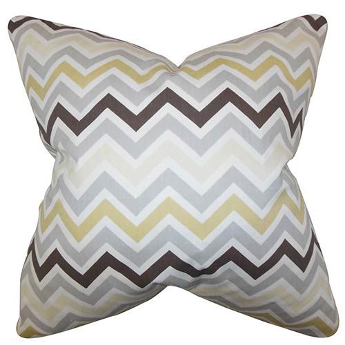 The Pillow Collection Howel Neutral 18 x 18 Zigzag Throw Pillow