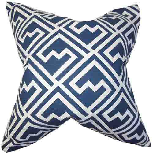 The Pillow Collection Ragnhild Navy 18 x 18 Geometric Throw Pillow