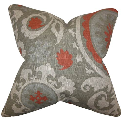 The Pillow Collection Wella Gray 18 x 18 Floral Throw Pillow
