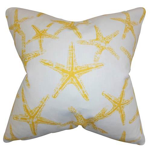 The Pillow Collection Ilene Yellow 18 x 18 Coastal Throw Pillow