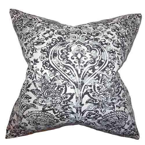 The Pillow Collection Daija Gray 18 x 18 Floral Throw Pillow