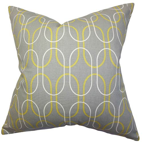 The Pillow Collection Ickitt Gray 18 x 18 Geometric Throw Pillow