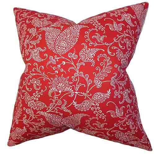 The Pillow Collection Aderyn Red 18 x 18 Floral Throw Pillow