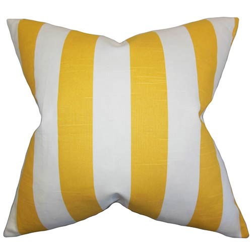 Acantha Yellow 18 x 18 Stripes Throw Pillow