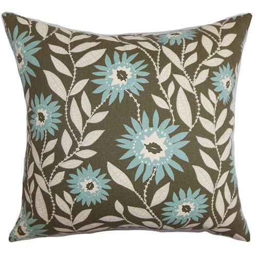 The Pillow Collection Leena Blue 18 x 18 Floral Throw Pillow