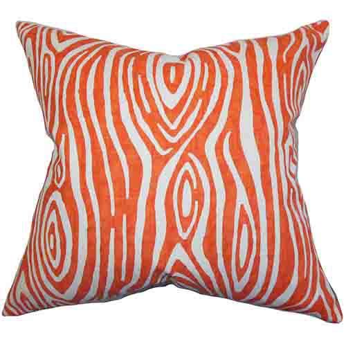 The Pillow Collection Thirza Orange 18 x 18 Geometric Throw Pillow