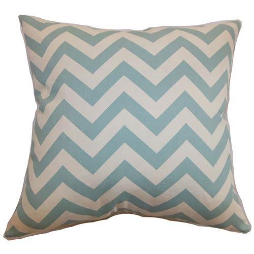The Pillow Collection Xayabury Aqua 18 x 18 Zigzag Throw Pillow