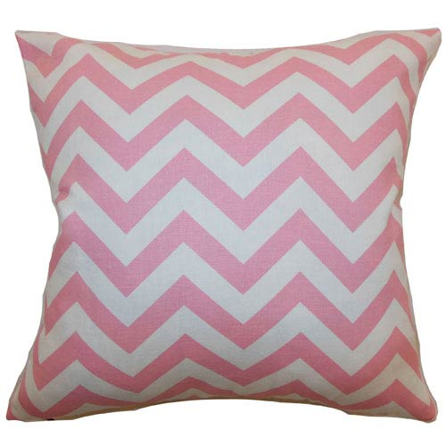 The Pillow Collection Xayabury Zigzag Pillow Baby Pink