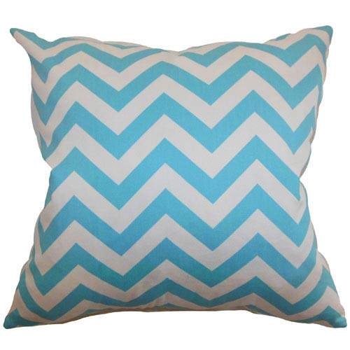 The Pillow Collection Xayabury Zigzag Pillow Girly Blue Twill