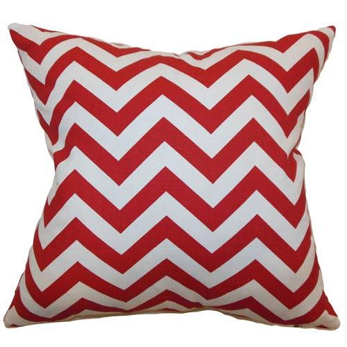 The Pillow Collection Xayabury Zigzag Pillow Lipstick White
