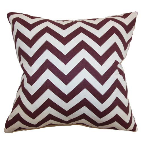 The Pillow Collection Xayabury Zigzag Pillow Maroon White