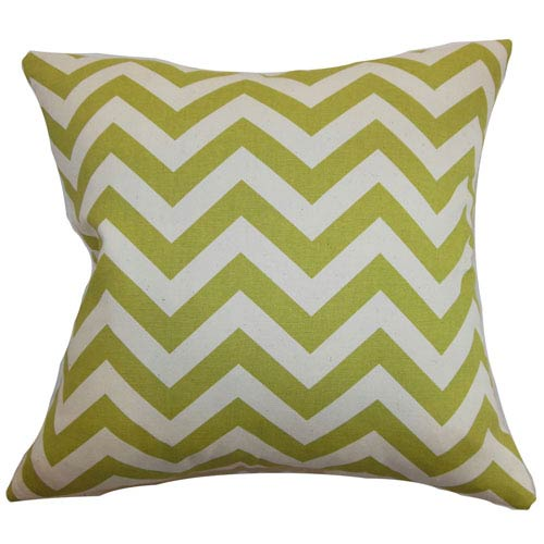 The Pillow Collection Xayabury Zigzag Pillow Village Green Natural