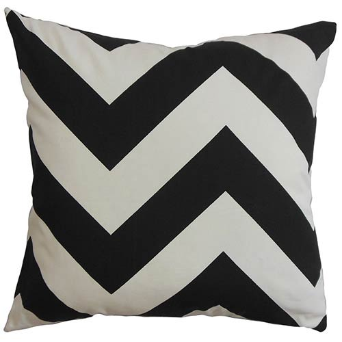 Eir Black and White 18 x 18 Zigzag Throw Pillow