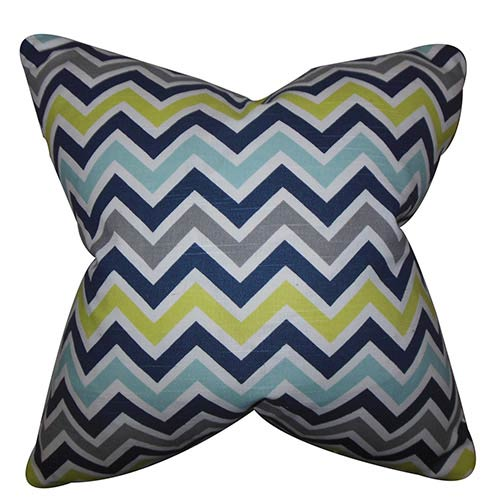 The Pillow Collection Howel Blue and Green 18 x 18 Zigzag Throw Pillow