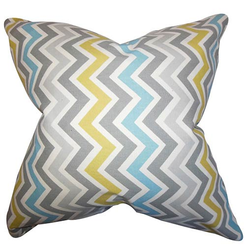 The Pillow Collection Howel Gray and Blue 18 x 18 Zigzag Throw Pillow