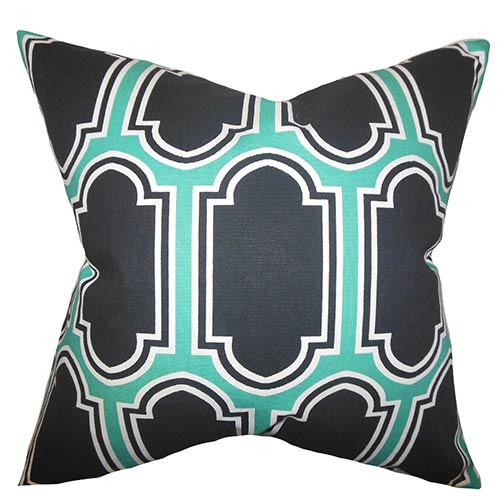 The Pillow Collection Kasiani Green 18 x 18 Geometric Throw Pillow