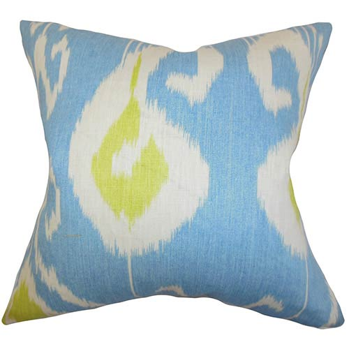 The Pillow Collection Cleon Blue 18 x 18 Ikat Throw Pillow