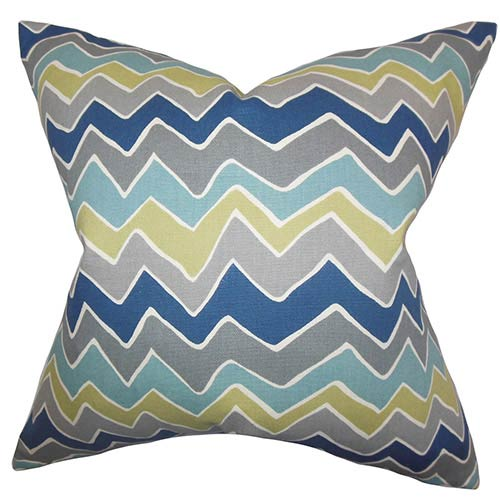 The Pillow Collection Achsah Gray and Blue 18 x 18 Zigzag Throw Pillow