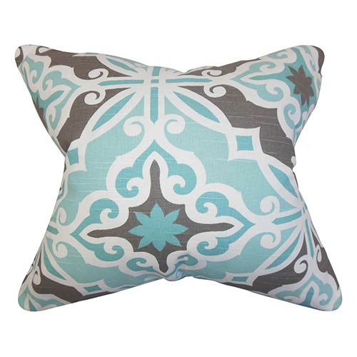 The Pillow Collection Adriel Blue and Gray 18 x 18 Geometric Throw Pillow