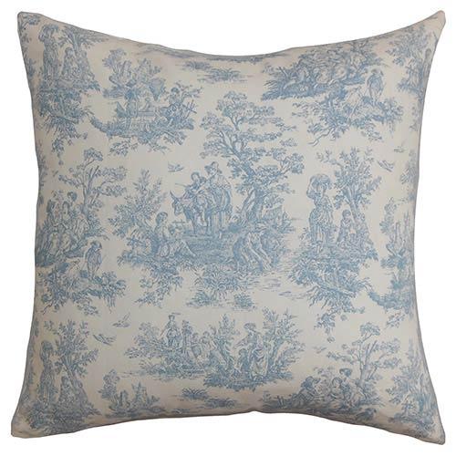 The Pillow Collection Lalibela Blue 18 x 18 Toile Throw Pillow